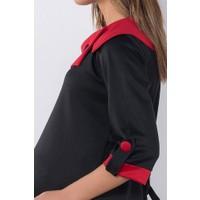 Modaverda Hamile Yakası Yırtmaçlı Geskol Tunik Siyah Renk