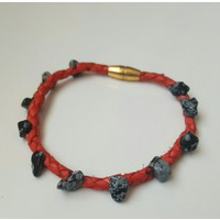 Onka Tasarım Obsidyen Taşlı Kırmızı Deri Sırım Halhal