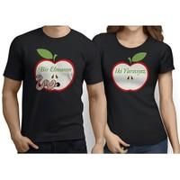 BuldumBuldum Sevgili T-Shirt - Siyah - Bir Elmanın İki Yarısıyız