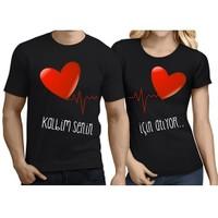 BuldumBuldum Sevgili T-Shirt - Siyah - Kalbim Senin İçin Atıyor