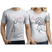 BuldumBuldum Sevgili T-Shirt - Beyaz - Uçan Kalpler