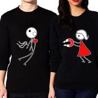 BuldumBuldum Sevgili Sweatshirtleri - Siyah - Aşkın Çekim Gücü