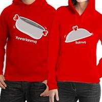 BuldumBuldum Kapşonlu Sevgili Sweatshirtleri - Kırmızı - Tencere Kapak