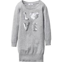 Bpc Bonprix Collection Gri Payet Aplike Detaylı Örgü Elbise