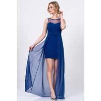 İroni Kalp Yaka Mini Elbise Üstü Şifon Saks Abiye