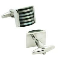 Chavin Siyah-Beyaz Sedef Çelik Kol Düğmesi cn80
