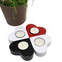 Chavin 4 Adet Renkli Kalpli Polyester Tea Light Mumluk de19
