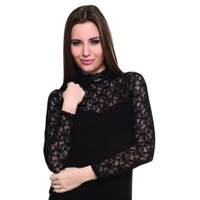 Belinay 915 Dantel Ayrıntılı Bluz Siyah