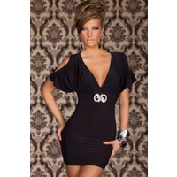 Miss Lancy V Yakalı Yarasa Kollu Mini Elbise mly149