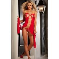 Miss Lancy Kırmızı Transparan Sabahlık mly420