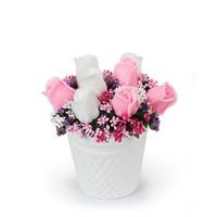 Ejoya Pembe Beyaz Güller Sabun Aranjmanı