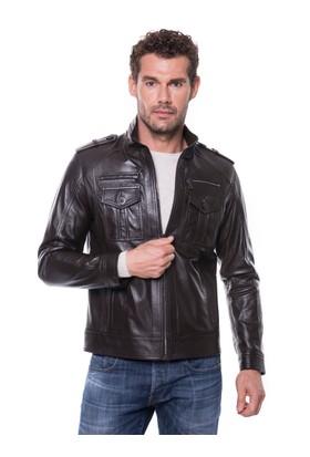 İparelde E56C Erkek Siyah Deri Ceket