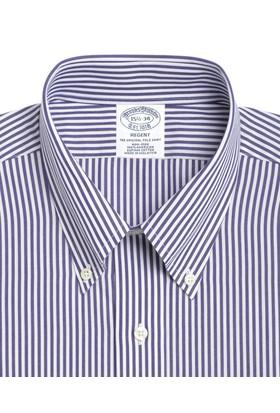 Brooks Brothers Düğmeli Yaka Slim Mavi Gömlek