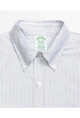 Brooks Brothers Düğmeli Yaka Açık Mavi Gömlek