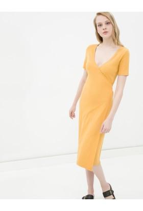 Koton Kadın Oyuk Yaka Elbise Hardal