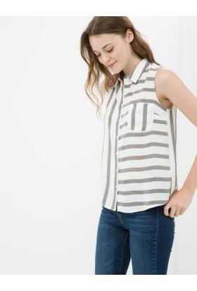 Koton Kadın Çizgili Gömlek Gri