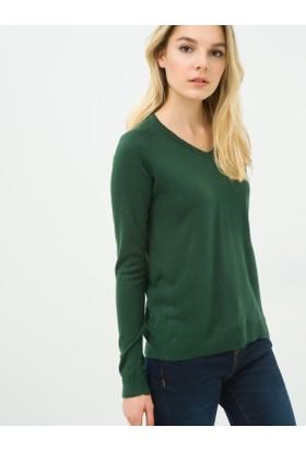 Koton Kadın V Yaka Kazak Yeşil