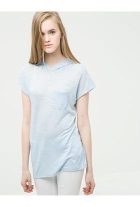 Ole Kadın Cep Detaylı T-Shirt Mavi
