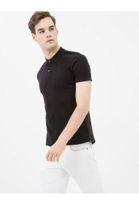 Koton Erkek Düğme Detaylı T-Shirt Siyah