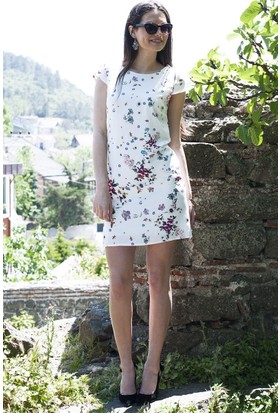 Sofistiqe Çiçekli Kollu Elbise