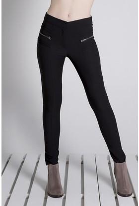 Sofistiqe Siyah Çift Fermuarlı Pantolon