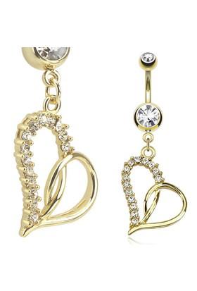 Chavin Taşlı Kalp Sarı Göbek Piercing ct40