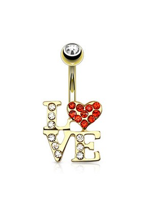 Chavin Love Yazılı Kırmızı Kalp Sarı Gold Göbek Piercing dc61