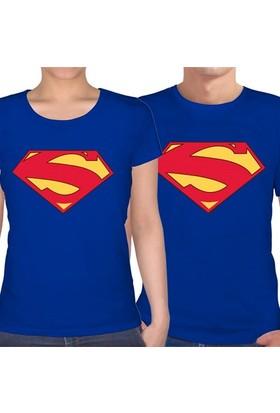 BuldumBuldum Superman Sevgili T-Shirt - Saks Mavi U Yaka