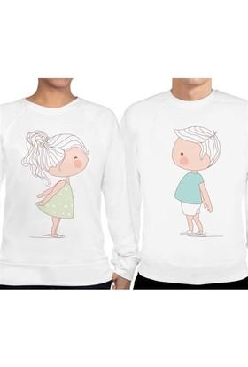 BuldumBuldum Sevgili Sweatshirtleri - Beyaz - Sevimli Aşıklar