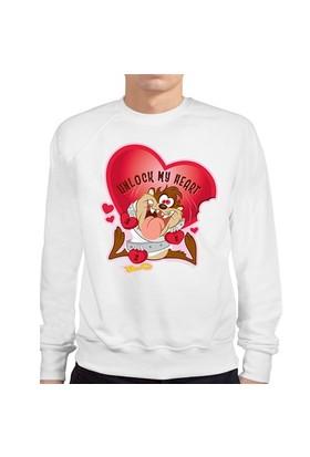 BuldumBuldum Tazmanya Canavarı Beyaz Erkek Sweatshirt