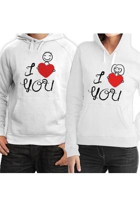 BuldumBuldum Kapşonlu Sevgili Sweatshirtleri - Beyaz - Çöp Adam Aşkı