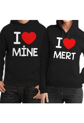 BuldumBuldum Kapşonlu Sevgili Sweatshirtleri - Siyah - I Love You