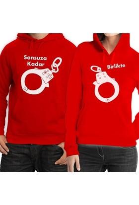 BuldumBuldum Kapşonlu Sevgili Sweatshirtleri - Kırmızı - Kelepçeliyim Ben Sana