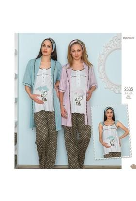 BH2535 Baha 3 lü Lohusa Pijama Takımı BH2535 221
