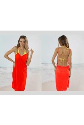 Toptancı Kapında Pareo Plaj Elbisesi - Kırmızı