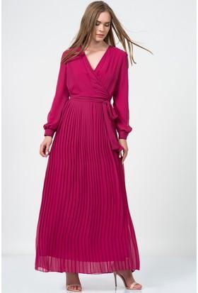 İroni Pliseli Kruvaze Uzun Fuşya Elbise