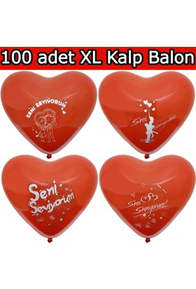 Chavin Seni Seviyorum Evlilik Teklifi 100 adet Kırmızı Kalp Balon
