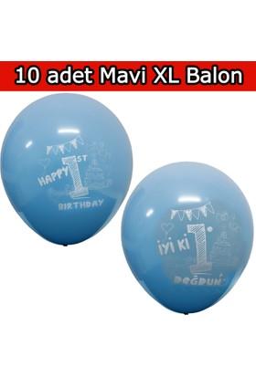 10 Adet XL Mavi 1 Yaş Balonu, Balon mm14-10