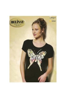 Belinay 744 Kelebek Pul İşlemeli Bluz Siyah