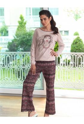 Mel Bee Baskılı Kadın Pijama Takımı Vizon MBP23018-1