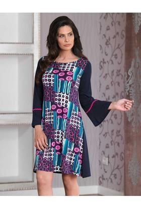 Mel Bee Desenli Kadın Ev Elbisesi MBP23028-1