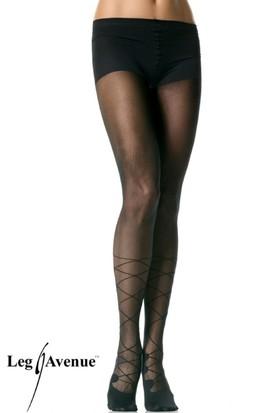 Leg Avenue Önden Bağcık Desenli Külotlu Çorap 7503sy