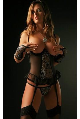 Miss Lancy Siyah 3 Parça Transparan Korse mly419