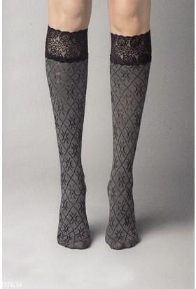 Veneziana Siyah Silikonlu Dizaltı Çorap PIZZO VICTORIA NERO