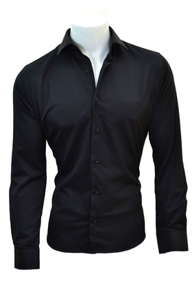 Megaldi Erkek Gömlek Slim Fit Siyah Saten 30205