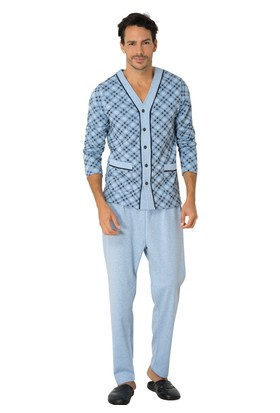 Mecit Melanj Önden Açık Erkek Pijama Takımı