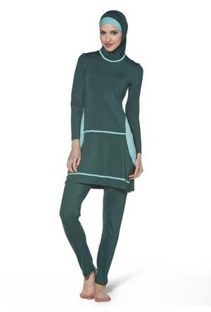 Uzun Kollu Likralı Tesettür Mayo - 212070 - Yeşil - Adasea Tesmay