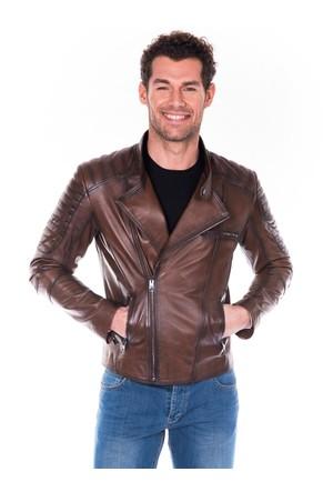 İparelde ES110 Kahverengi Erkek Deri Ceket