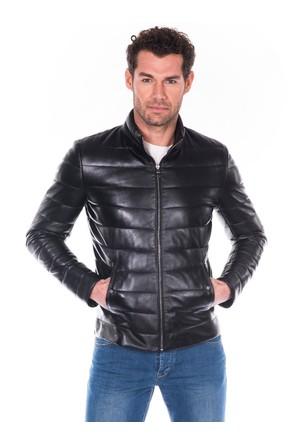 İparelde E8488 Siyah Erkek Deri Şişme Ceket