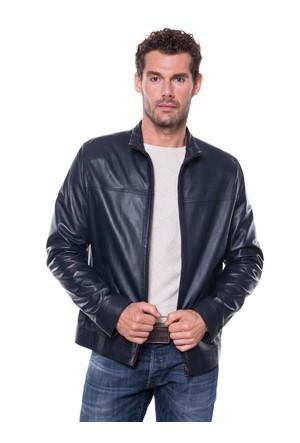İparelde E180 Lacivert Erkek Deri Ceket